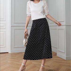Vintage Black Skirt with white polka dots